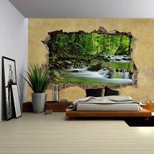 wall26 - Cascading Spring in Rainforest Viewed through a Wall -Wall Mural -66x96