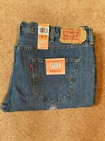 NEW BIG & TALL MENS LEVI'S 501 Original Fit Blue Denim Jeans W44 L34