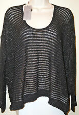 "JENNIFER LOPEZ Long Sleeve Sweater ""City Lights Collection"" BLACK TIE Sz M NWT"