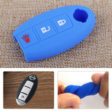 Blue 3BTN Car Silicone Remote Key Fob Shell Case Cover Fit For Nissan TIIDA Juke