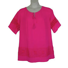 Hot Pink Peasant Style Lace Trim Plus Size Tunic Top 2X Gibson & Latimer