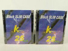 New lot of (2) 25-Pack Black Slim CD Jewel Cases KHypermedia 50 total CD cases.