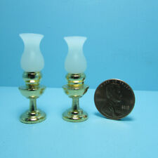 Dollhouse Miniature Brass Oil Lamps Set with Frosted Shade Non-Working IM65595