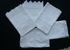 More details for five white single pillowcases with vintage crocheted lace ~ excellent condition