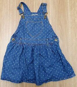 GILLIAN'S CLOSET Baby Girls Blue Denim Sleeveless 100% Cotton Dungarees 3 Years