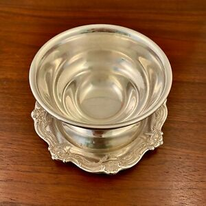 GORHAM STERLING SILVER SAUCE BOAT ATTACHED UNDERPLATE CHANTILLY DUCHESS NO MONO