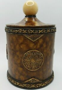 """Large Decorative Canister Cheetah Print With Onyx Sphere Handle 11""""T 7""""W Opening"""
