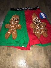 Star Wars Chewbacca Gingerbread Man Red Green Boxer  Men's Underwear Size Small