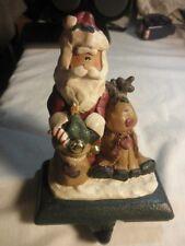 Christmas Stocking Holder Hanger Santa with RENDEER Resin on Cast Iron Base