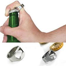 RING Bar Beer Drinks Bottle Opener Stainless Steel Finger Thumb Keyring Chrome