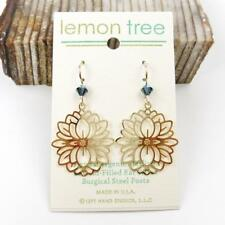 Lemon Tree Earrings Gold Plated Large Abstract Blossom 14K Gold Filled Hook