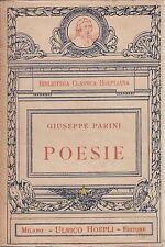 Parini, Poesie, Hoepli, Biblioteca classica Hoepliana, Michele Scherillo, 1925