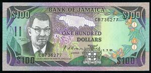 🔸JAMAICA $100 DOLLARS 1991 P-75a UNC (O-051)🔸