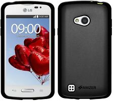 Amzer Exclusive Pudding Matte TPU Case Back Cover For LG L50 D213N - Black