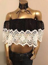 New Fashion Women's CROCHET LACE RUFFLE TOP---L----CUTE!!