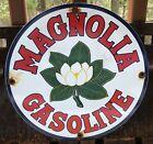 VINTAGE+MAGNOLIA+FLOWER+GASOLINE+MOTOR+OIL+PORCELAIN+ENAMEL+GAS+PUMP+SIGN