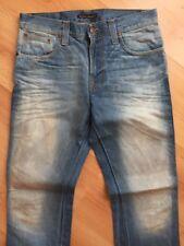 SIZE 33/32 w33 L32 NUDIE jeans SLIM JIM ORG CRISPY WORN IN light blue bleached