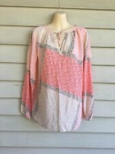 Tommy Bahama 100% Rayon Floral Boho Peasant Top Blouse Size M Medium
