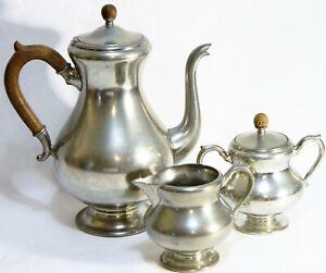 Royal Holland Pewter Coffee Pot Sugar Bowl Creamer Pitcher 3-Piece Tea Set