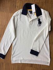 Ralph Lauren Jungen Polo Langarm Shirt VP75€ Weiß Blau Gr. L 14-16y 170 176 182