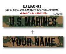 US MARINES Branch & Name Tape (Woodland) For Sew-On *Name is Required*