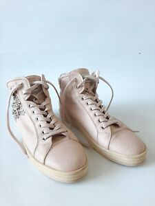 Hogan Rebel Women's Studded Pink Leather High Top Sneakers Size 40