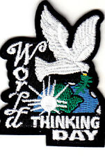 """""""World Thinking Day"""" w/Dove - Earth - Iron On Embroidered Patch"""