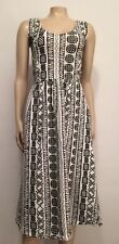 NEW Asos Women's Dress 10 Medium Black White Geometric Sleeveless Midi BB2