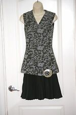 vintage Green gray tunic quilted flowers flared Shell Buckle skirt DRESS S 4 USA