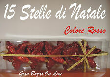 NATALE STELLE GLITTER ROSSO 15 Pz cm 10 Stock Albero Decorazione Palline