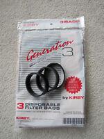 3 Genuine OEM Kirby G3 sweeper bags & 3 Knurled Vacuum Cleaner belts
