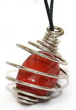 Red Jasper Crystal Spiral Pendant Necklace, Reiki Blessed, Balances Yin/Yang