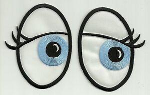 Cartoon Pair of Feminine Oval Eyes Iron On Sew On Patch