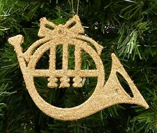 GOLD GLITTER FRENCH HORN MUSICAL INSTRUMENT CHRISTMAS ORNAMENT