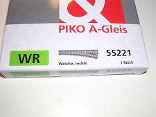 Piko A-Gleis 55221 Weiche Rechts, Winkel 15° Neuware.