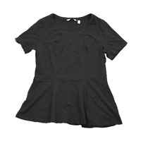New ISAAC MIZRAHI LIVE! Size Large Black Short Sleeve Scoop Neck Peplum T-shirt
