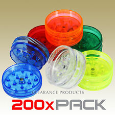 200 PACK - 2 Piece Acrylic Grinder 30mm Herb Spice Tobacco Plastic Crusher Mill