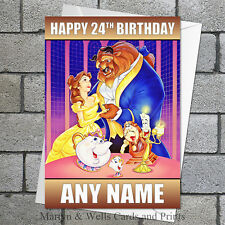 Beauty and the Beast birthday card. 5x7 inches. Personalised, plus envelope.