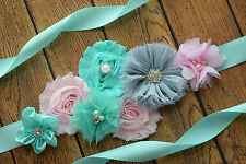 Flower Sash, aqua pink grey Sash , flower Belt, maternity sash, wedding sash