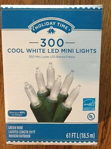 300 Count Cool White Holiday Time LED Mini Christmas Lights - Brand New