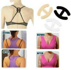 6 Bra Clips - Hide Bra strap & Adjust /Enhance Cleavage Clip Clear Nude Black