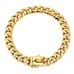 Gold Dog Chain Collar Heavy Duty Stainless Steel Metal Choker Training Bulldog