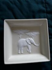 Limoge Square Bowl 7 1/2  X 7 1/2 Elephant Embossed Collectible