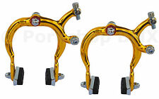 890 style old school BMX bicycle brake calipers front & rear SET- GOLD