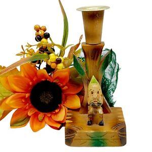 Vintage MCM ELF Knee Hugger Candle Holder 50s Pixie Sprite Carved Wood Cmas