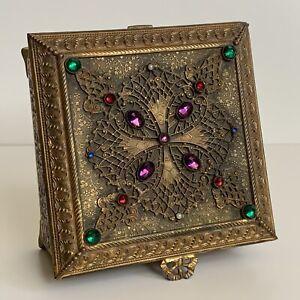 Empire Art Gold E & J B Gilt Metal Dresser Filigree Casket Box Jewels Pearls