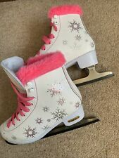 Children's ice skates SFR Size 3 UK. Hardly Used. White + Pink Fluff. Plus Bag
