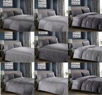 Crushed Velvet Duvet Cover with Pillow Case Bedding Set Charcoal Grey Silver