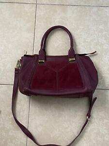 Vintage Steve Madden Leather Burgundy Satchel Shoulder Carry on Bag Cross Body