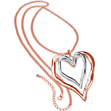 Lagenlook silver & rose gold very large heart pendant on a long fitting necklace